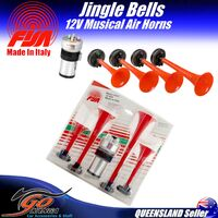 FISA 12V MUSICAL AIR HORNS 4 HORNS PLAYS JINGLE BELLS CHRISTMAS XMAS SANTA 4248