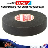 TESA 51036 19mm x 25m, Black PET Cloth Tape Cable Looms,Wiring Harness Tape