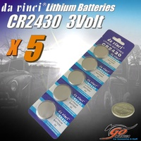 5 x CR2430 Lithium 3 volt Coin Battery Local Stock 3v 280mAh Genuine Da Vinci