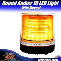 ROUND AMBER 10 LED MAGNETIC FLASHING LED EMERGENCY WARNING LIGHT SECURITY LED013