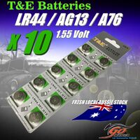 10 X LR44 /A1G13 /LR44H /A76 Alkaline Button T&E 1.5V Batteries Fresh Aus Stock