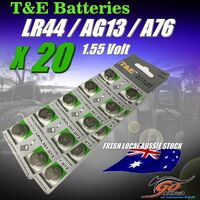 20 X LR44 /A1G13 /LR44H /A76 Alkaline Button T&E 1.55V Batteries Fresh Aus Stock