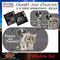 Twisted Whiskers Car Rear plus Sides Mesh Shade Baby Blind reduce glare Sun protection Friends are forever kids and grown ups