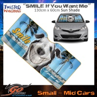 TWISTED WHISKERS PUPPY FRONT WINDSCREEN SUN SHADE SML-MED CAR SMILE IF YOU WANT ME
