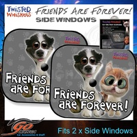 Twisted Whiskers Car Side Mesh Shades Baby Blind reduce glare Sun protection Friends are forever kids and grown ups