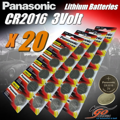 20 x CR2016 Genuine Panasonic 3v Lithium Coin Button Cell Batteries 90mAh Aus Stock