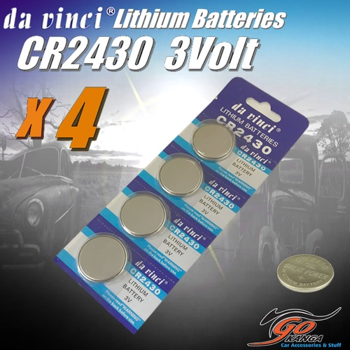 4 x CR2430 Lithium 3 volt Coin Battery Local Stock 3v 280mAh Genuine Da Vinci